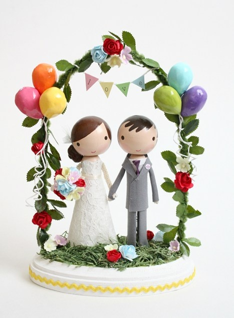 Customised cake topper with balloons and bunting from lollipopworkshop at etsy.com