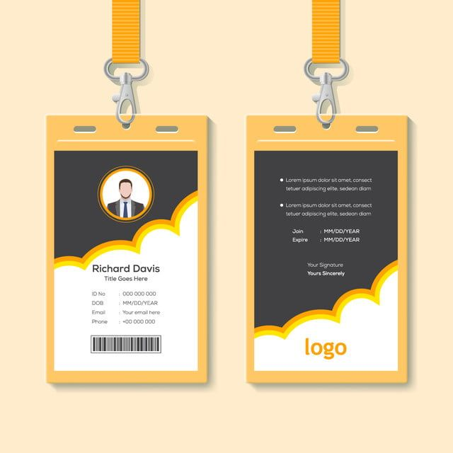 Id Card With Lanyard Set Isolated Vector Illustration Blank Plastic Access Card Name Tag Holder With Pin Ribbon Corporate Card Key Personal Security Badge