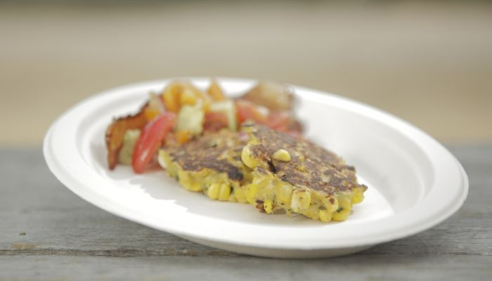 Rob and Dave's Zucchini & Corn Fritters with Maple Bacon & Tomato Salsa