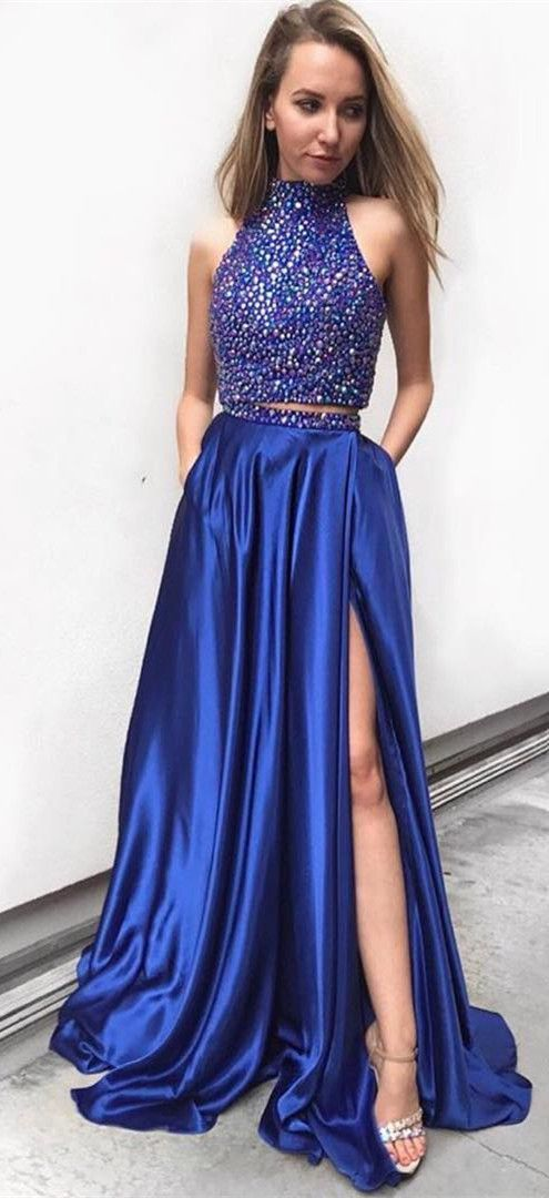 Two Piece Halter Navy Blue Prom Dresses Two Piece Beaded Long Party