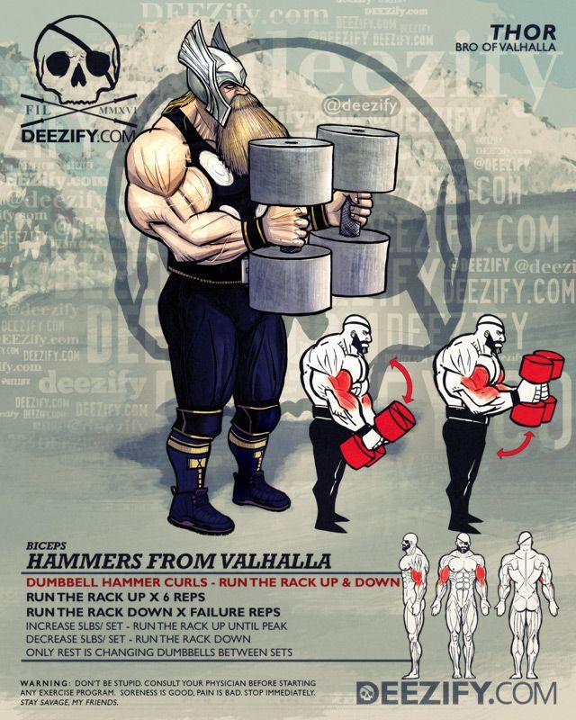bicep exercise: dumbbell hammer curls - thor