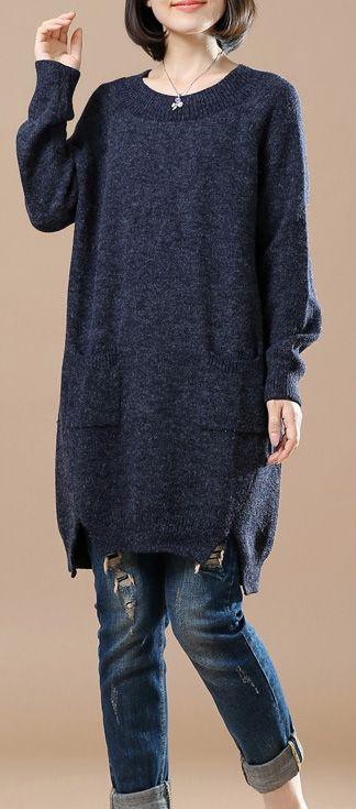 Navy baggy sweater dresses plus size open hem