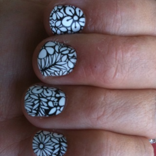 My nails.... Sally Hansen Nail Polish Strips! $7, easy, instant, enough to do twice!