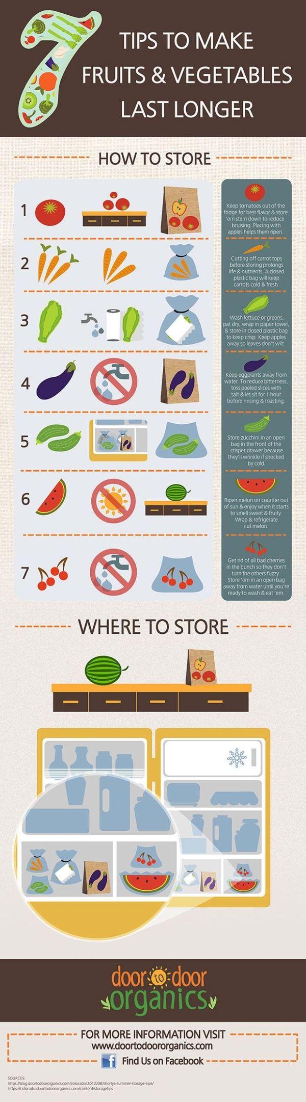 Kitchen hacks - 7 Tips to Make Fruits & Vegetables Last Longer FoodPreservation FoodStorage Canning Salada Light, Do It Yourself Food, Eat Better, Food Facts, Baking Tips, Fruits And Vegetables, Store Vegetables, Kitchen Hacks, Food Storage