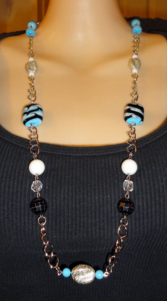 31 Inch Long Fashion Bead & Chain Necklace in by JewelryByVSLong, $22.00