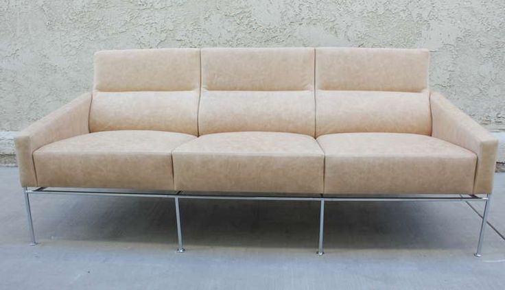 Arne Jacobsen 3300 Leather and Steel Sofa | From a unique collection of antique and modern sofas at https://www.1stdibs.com/furniture/seating/sofas/