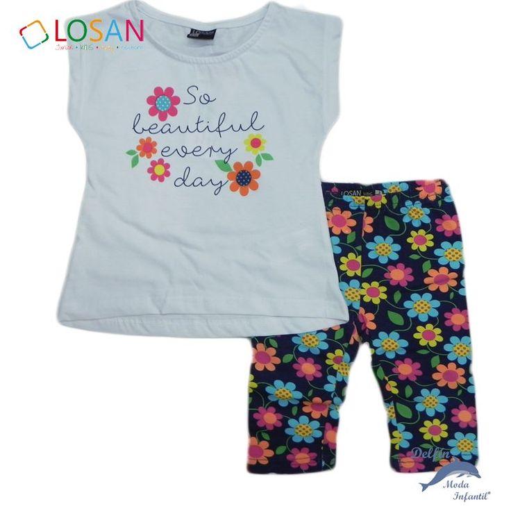 Conjunto de niña LOSAN camiseta y malla margaritas