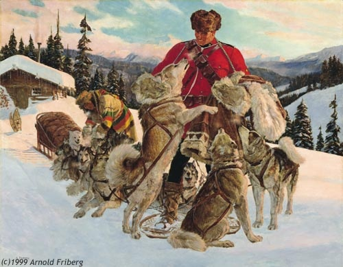 """Companions of the Trail""   by Arnold Friberg Only non canadian to receive the honor of being a honorary RCMP"