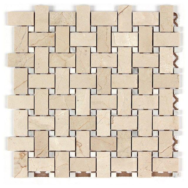 Crema Marfil 1x2 Basketweave Mosaic Tile W White Dots Polished