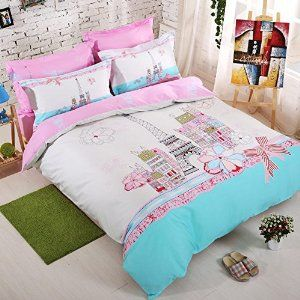 Amazon.com: TheFit Paisley Bedding for Adult U117 Love Fashion Paris Duvet Cover Set 100% Cotton, Queen Set, 4 Pieces: Home & Kitchen