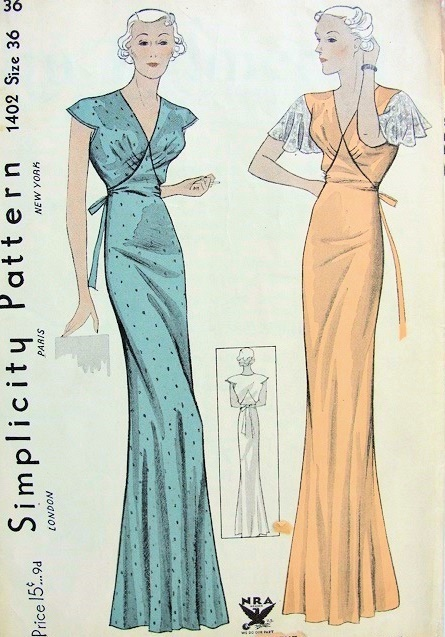 1930s GLAM  NIGHTGOWN PATTERN BIAS CUT  GORGEOUS JEAN HARLOW STYLE USE AS EVENING GOWN NRA SIMPLICITY 1402