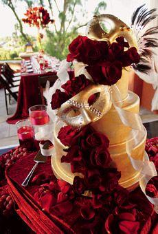 Gold Wedding Cake With Masks Roses