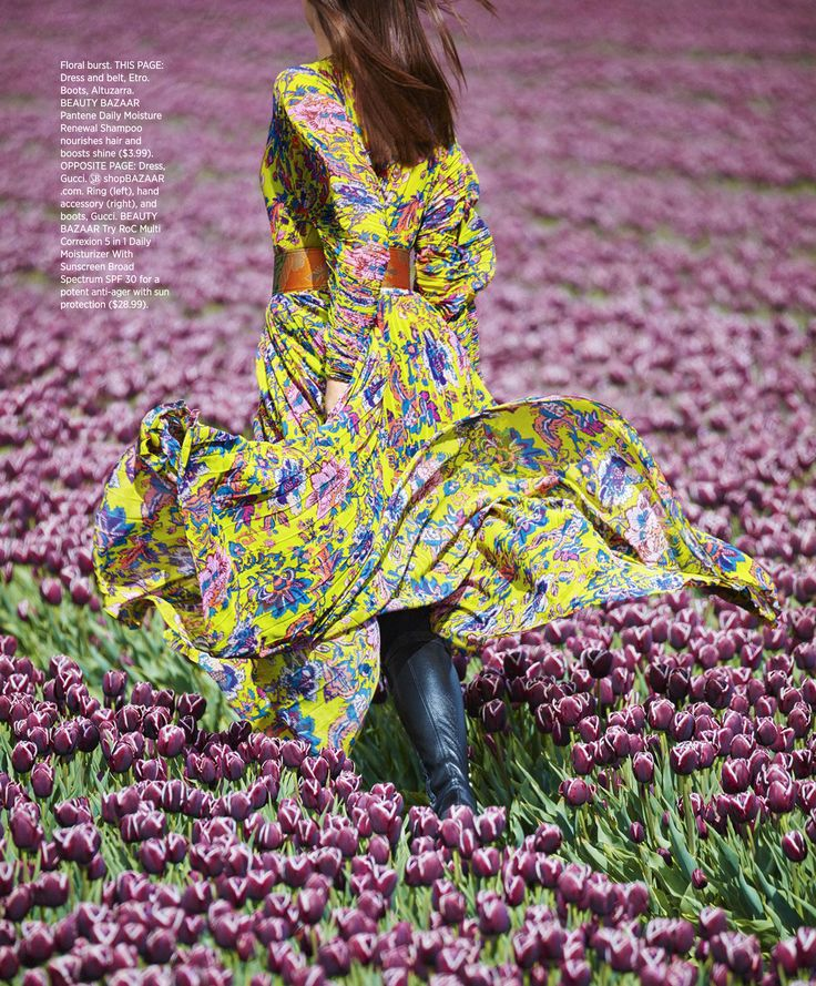 Tiptoe Through The Tulip - Julia Van Os by Daniel Riera for US Harper's Bazaar August 2017 - Etro