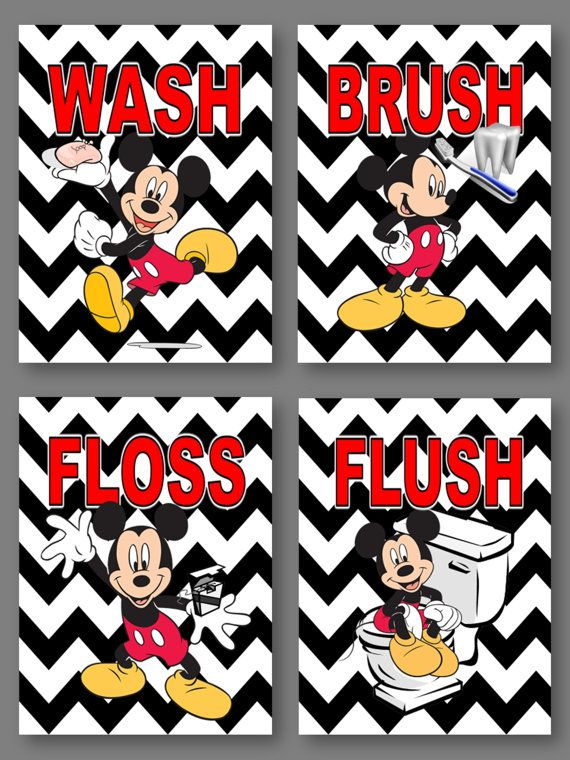 Mickey Mouse on Black White Chevron Wash Brush Flush Floss Wall Art 8 x 10 Prints for Kids Bathroom
