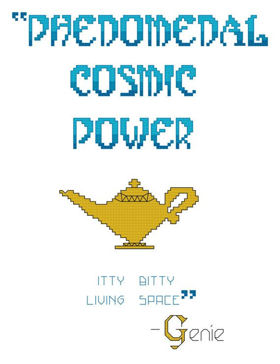 Phenomenal Cosmic Power Genie Quote - 14ct counted cross stitch pattern  - chellystitches Etsy