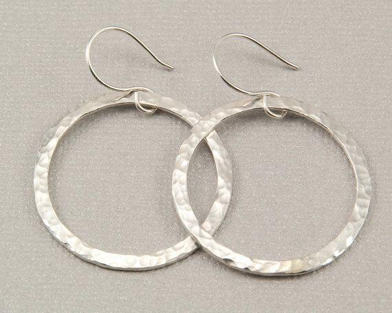 Large silver hoop earrings hammered silver hoops, handmade silver jewelry by BellesBijouxDesigns, $38.00