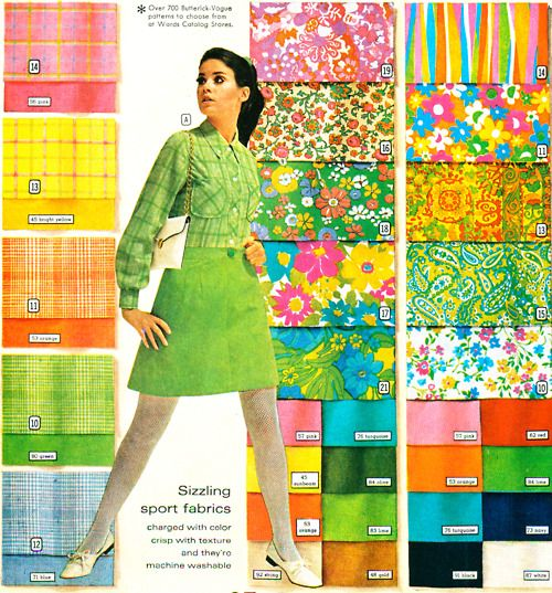 Montgomery Wards Spring & Summer 1968 color and pattern swatches, p. 210