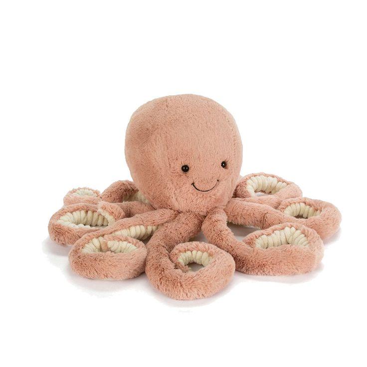 Glad blæksprutte bamse fra Jellycat, der med sine mange arme rigtig kan give en krammer. Bestil legetøj online her og få gratis gaveindpakning og hurtig levering.