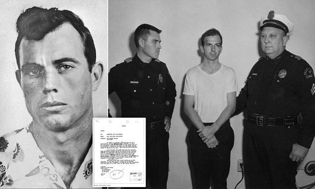 A note (centre) sent to the FBI claims an informant identified Dallas police officer J.D Tippit (left) not Lee Harvey Oswald (right) as the real killer of John F. Kennedy, the assassination files reveal.