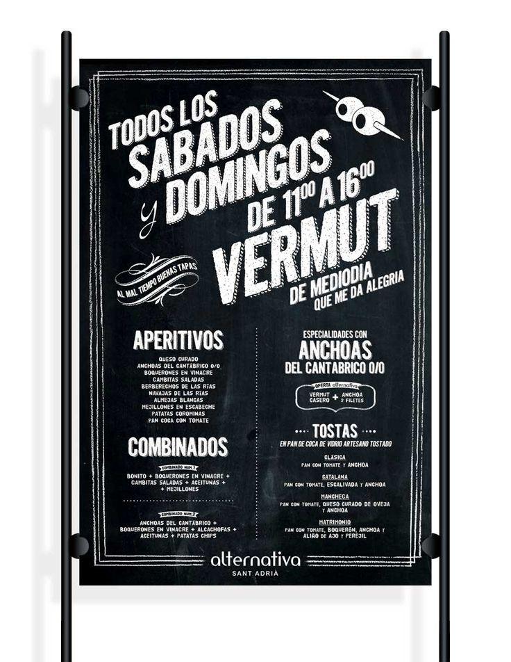 Cartel menú especial vermut para bar musical.