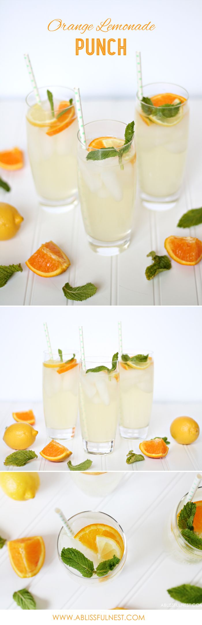 Delicious and Simple Orange Lemonade Punch Recipe. Make a cocktail or mocktail for a perfect summer drink! by A Blissful Nest