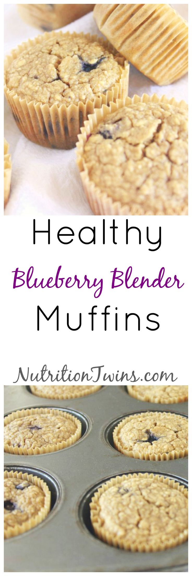 Lightened Up Blueberry Blender Muffins | Great Weight Loss Treat | Only 115 Calories | Healthy, made with oats, bananas | For MORE RECIPES, fitness & nutrition tips please SIGN UP for our FREE NEWSLETTER www.NutritionTwins.com