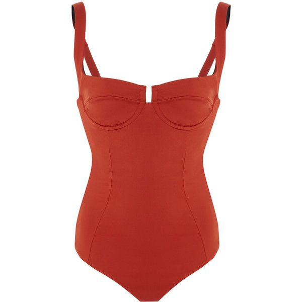 Reina Olga Bardot Underwire One Piece Swimsuit featuring polyvore women's fashion clothing swimwear one-piece swimsuits swimsuit red swim suits underwire swimsuit 1 piece bathing suits red one piece swimsuit red one piece bathing suit