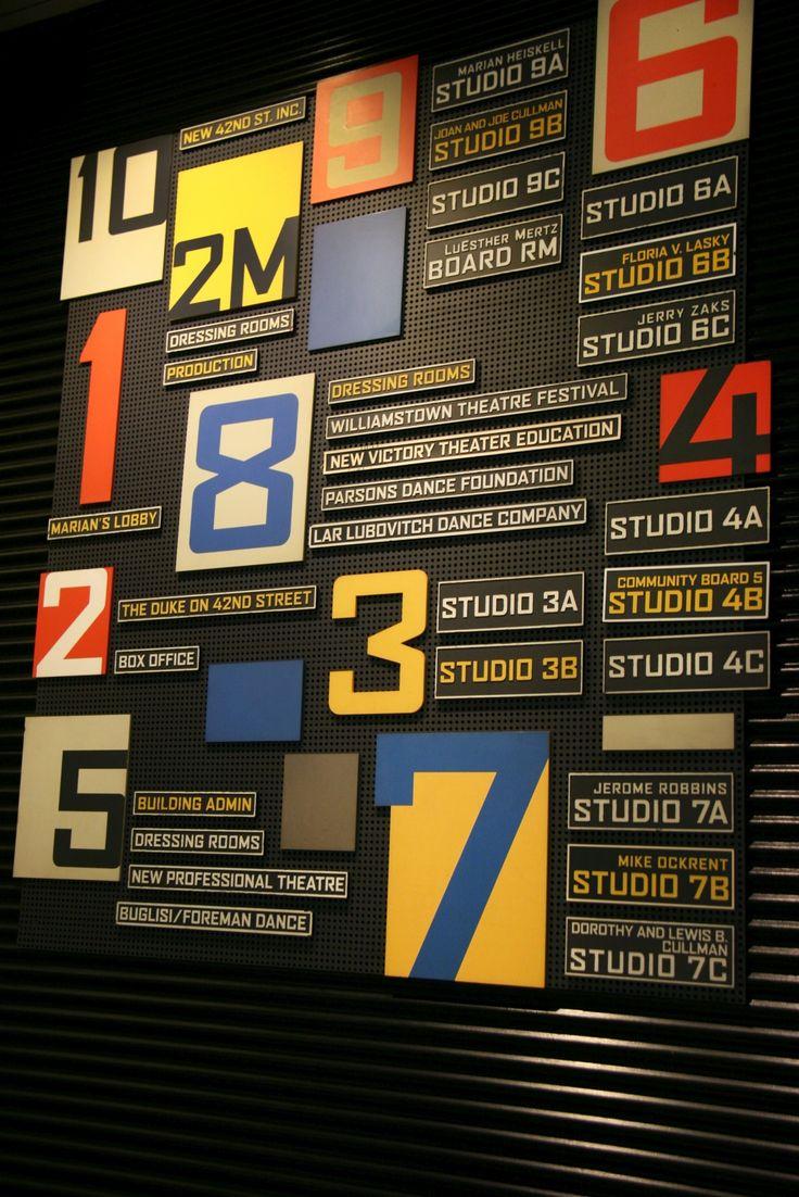 New 42nd Street Studio building wayfinding signage floors 1 to 10 #Numbers #Wayfinding #Signage