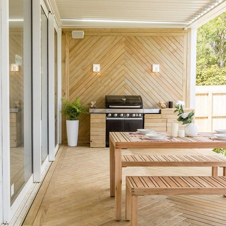 More outdoor room inspo, this time from Hayden & Jamie's deck on The Block NZ. Love the herringbone wall design and Louvretec ceiling! #outdoorroom #exteriordesign #yourhomeandgarden
