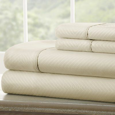 Willa Arlo Interiors Dollard Double-Brushed Chevron Sheet Set Size: Cali King, Color: Cream