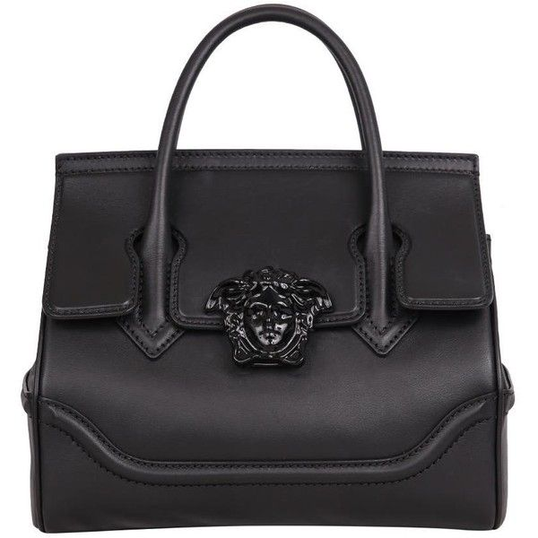 Versace Black leather Palazzo Empire bag (€2.140) ❤ liked on Polyvore featuring bags, handbags, shoulder bags, versace, nero, leather handbags, summer handbags, versace purses, versace handbags and leather purses