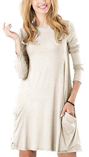 Women's Long Sleeve Pockets Casual Swing Plain T-shirt Dress - http://www.darrenblogs.com/2016/11/womens-long-sleeve-pockets-casual-swing-plain-t-shirt-dress/