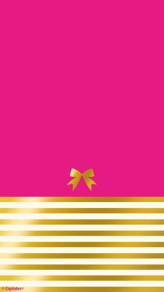Hot pink gold stripe bow iPhone wallpaper background | technology | Pinterest | Fondos, Fondos ...