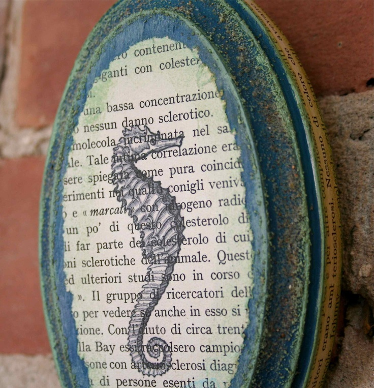 Seahorse collage with vintage materials