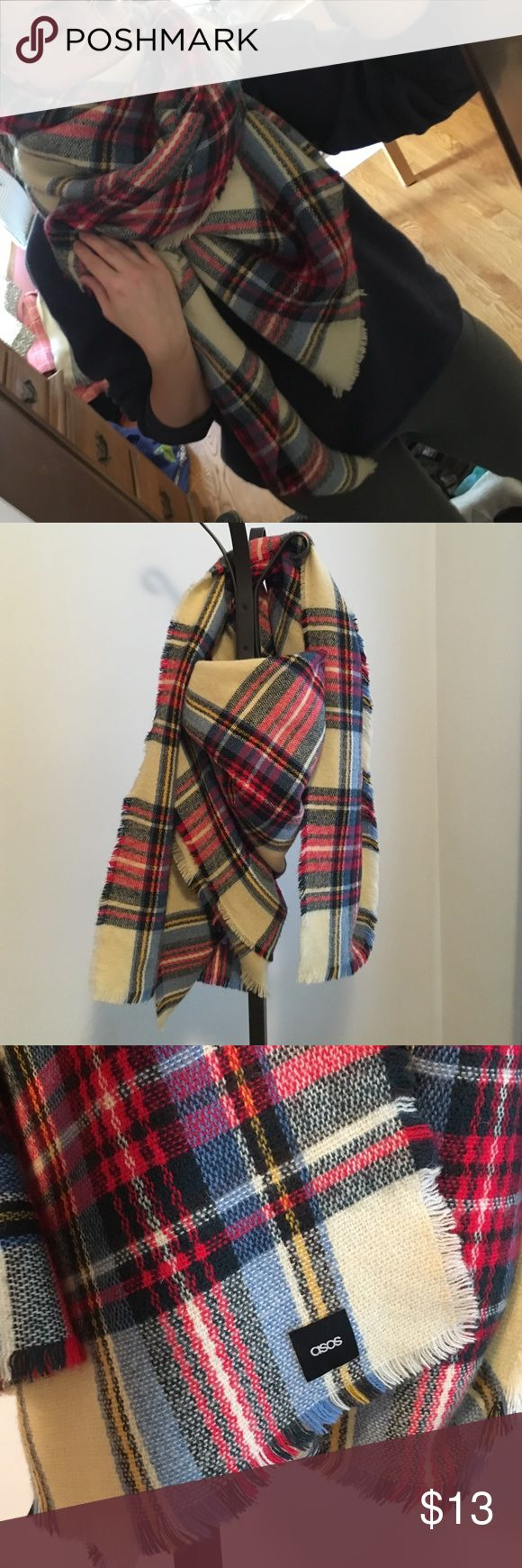 ASOS Blanket Scarf Plaid Square Luxurious large blanket scarf. Super soft. Fringe detail. Washable. Too big to pack on my move! ASOS Accessories Scarves & Wraps