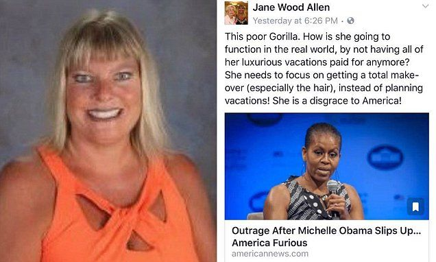 Teacher fired after calling Michelle Obama 'gorilla' on Facebook