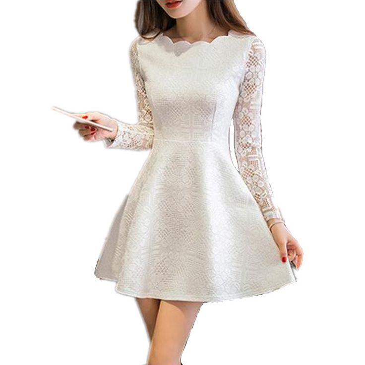 Printemps Été Automne Femmes Dentelle Casual Dress Manches Longues Coréenne Partie Robes Robe Blanc Noir Rose Mini Dress Robe Dentelle