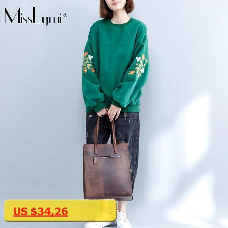 MissLymi Plus Size Women Hoodie Green Sweatshirts 2017 Winter Fleece Oversized Long Sleeve Floral Embroidery Sweatshirt Female