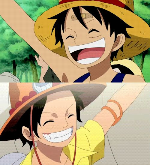 Cute Luffy And Ace Gif by AnniiSkittles