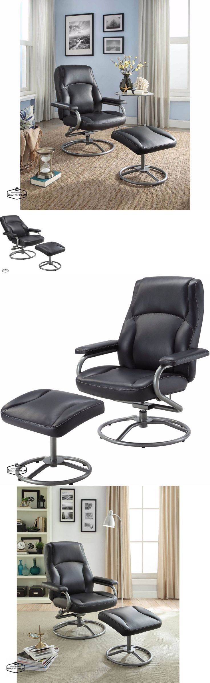 furniture: Recliner Chair With Ottoman Glider Swivel Black Home Office Furniture Seat New -> BUY IT NOW ONLY: $143.9 on eBay!