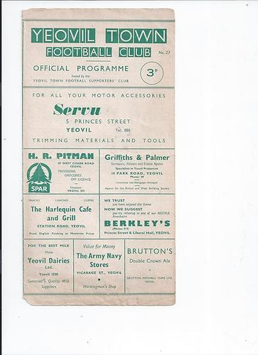 Away to Yeovil Town   18/3/1961   Southern League