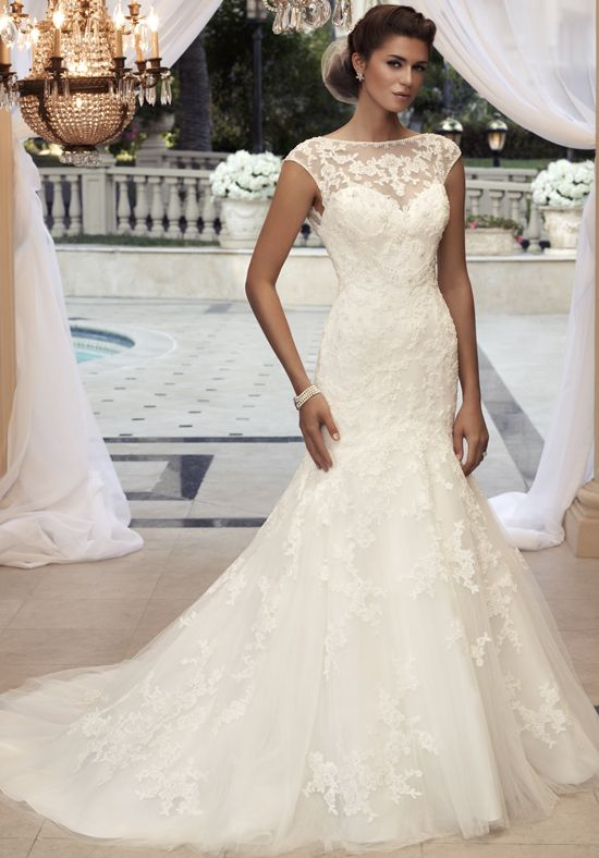 Beaded lace applique sewn on tulle over this silk, bateau neckline wedding dress. // 2110 from Casablanca Bridal