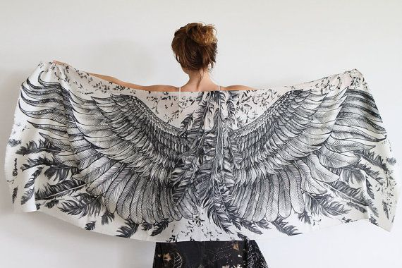 Modal White Women scarf, Hand painted Wings and feathers, stunning unique and useful, perfect gift