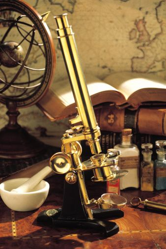 Old-fashioned scientific instruments and equipment