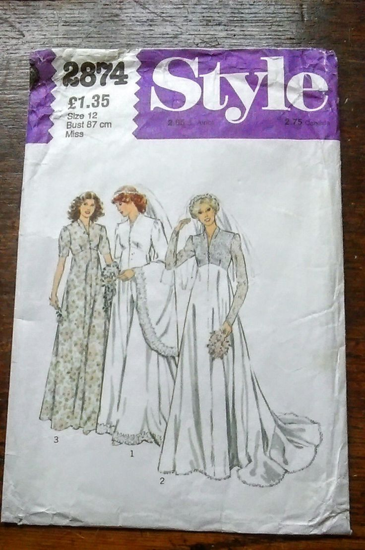 Vintage Style pattern 2874 for Empire line wedding dress and bridesmaid dress size 12. 1979 by Marcialois on Etsy