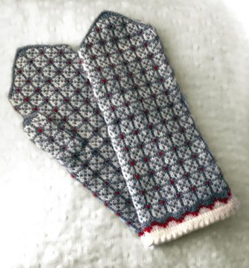 Nice traditional mittens - I'd almost risk working with 3 colors at once to make these.