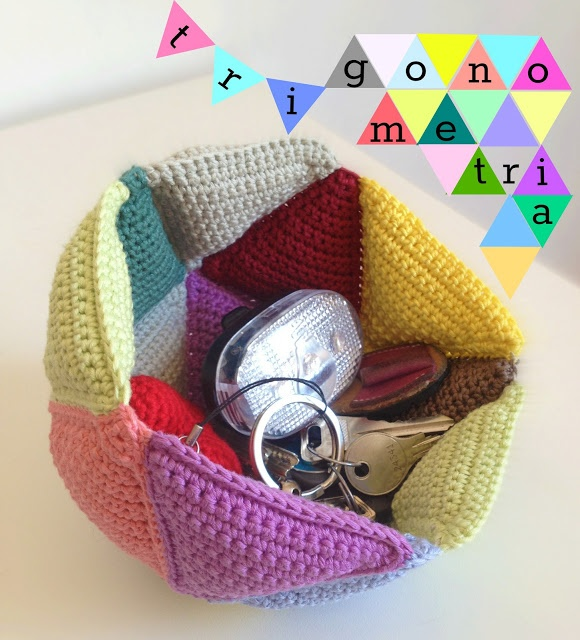 crocheted triangles basket