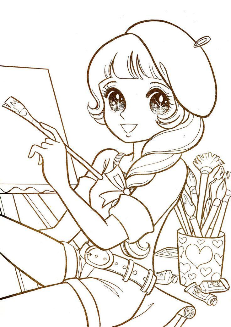 ausmalbilder manga figuren  manga coloring book star