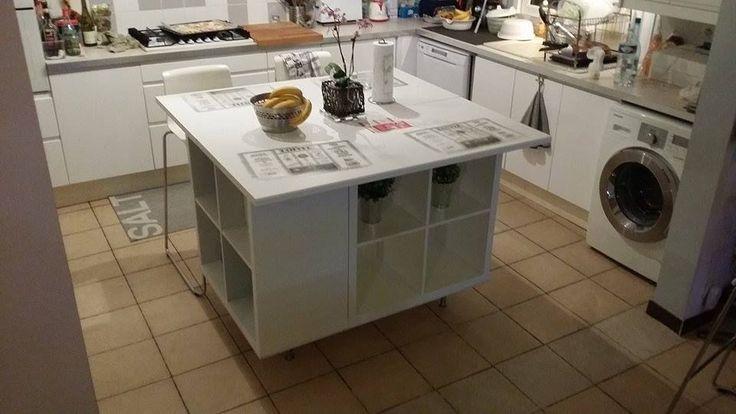 Un ilot de cuisine moderne pas cher  #ikea #ilot #KALLAX