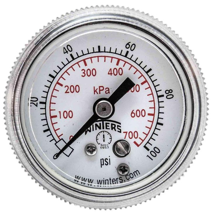 P9S 90 Series 1.5 in. Black Steel Case Pressure Gauge with 1/8 in. NPT Center Back Connect and Range of 0-100 psi/kPa